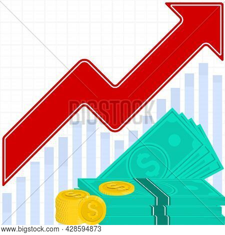 Vector Design Of Positive Performance Graph, Money Profit Arrow, Productivity Graph, Market Profit G