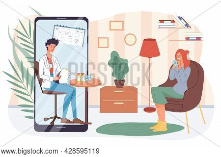Vector Flat Cartoon Patient, Doctor Characters.physician Examines Medical Card Of Sick Woman With Vi