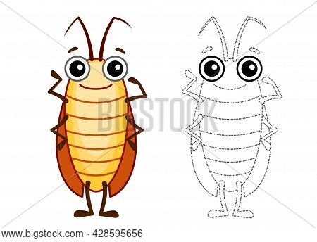 Funny Cockroach. Coloring Insect In A Cartoon Style