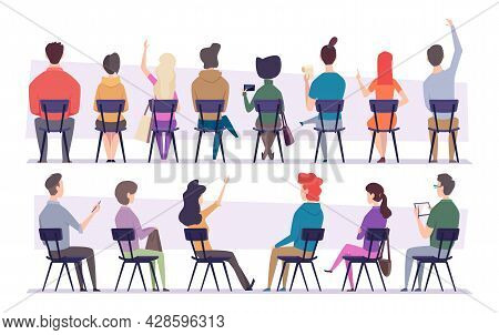 Study People. College Students Sitting On Chair People Back View Listening Project Presentation Exac