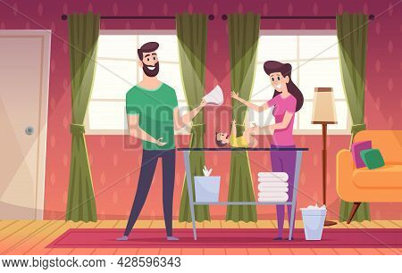 Happy Family Background. Lovely Couples Daily Routine At Home Playing With Kids In Room Exact Vector