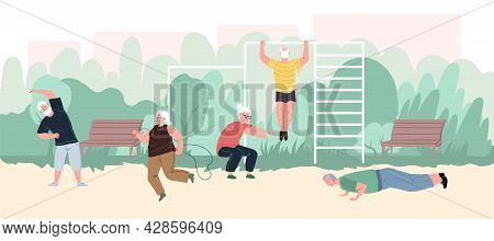 Vector Flat Cartoon Characters, Elderly Athletes, Enjoy Sport Activities At Park.aged People Working
