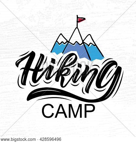 Hand Sketched Camping Set Lettering Typography. Concept For Hiking Camp, Camping, Night Fishing Camp