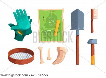 Archeology Tools. Digging Items Archiological Equipment For Ancient Knowledge Antique Artifacts Skul