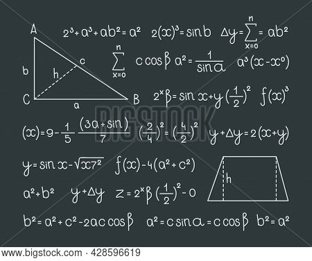 Math Formula. Scientific Symbols Mathematics Infographic Graphs Numbers And Scheme For Geometry Equa