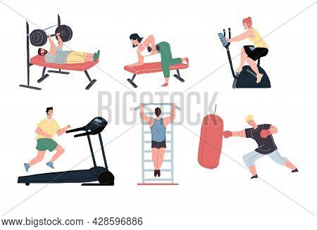 Set Of Vector Flat Cartoon Characters Enjoy Sport Activities At Fitness Gym.athletes Working Out Wit