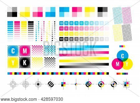 Cmyk Marks. Colorful Bars For Color Divices Calibration Printing House Paper Templates Cyan Yellow B