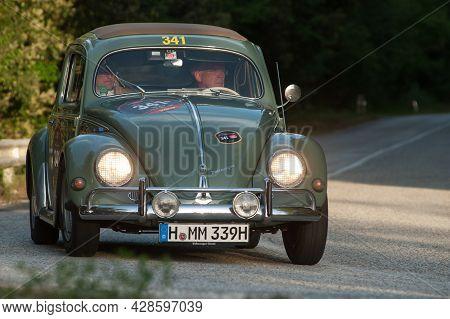 Sant'anatolia Di Narco, Umbria,  Italy, 1956 Volkswagen Beetle Type 1/11 Attends The Mille Miglia Hi