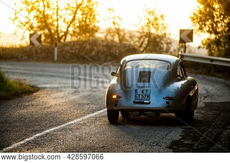 Sant'anatolia Di Narco, Umbria,  Italy, Vintage Porsche  Race Car At Sunset  Attends The Mille Migli