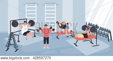 Vector Flat Cartoon Characters Enjoy Sport Activities At Fitness Gym.athletes Working Out With Barbe