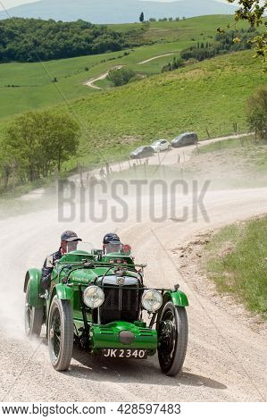 Mg C-type Midget  Attends The Mille Miglia Historic Race On May 21 2012, In Pieve A Salti, Tuscany,
