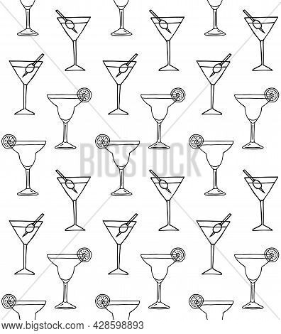 Vector Seamless Pattern Of Hand Drawn Doodle Sketch Margarita And Martini Cocktail Isolated On White