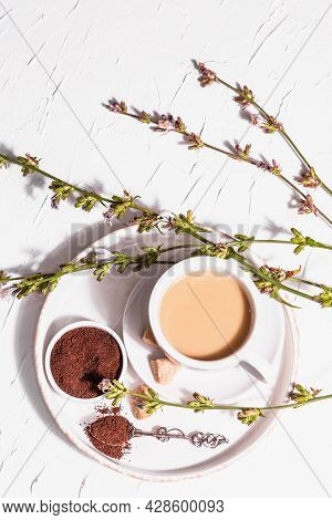 Chicory Coffee With Fresh Flowers And Powder