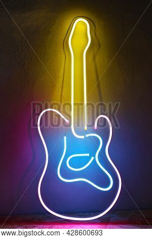 Pink, Blue And Yellow Neon Sign Guitar. Trendy Style. Neon Sign. Custom Neon. Music Vibe.