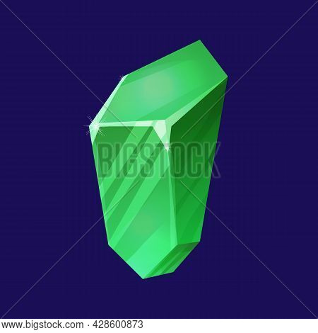 Emerald Mineral, Magic Crystal In Cartoon Style Isolated On White Background. Ui Game Asset, Witchcr