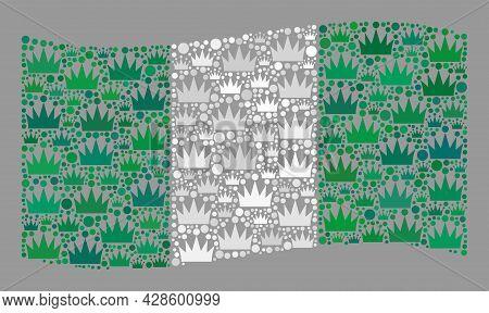 Mosaic Waving Nigeria Flag Designed Of Royal Elements. Kingdom Vector Mosaic Waving Nigeria Flag Des