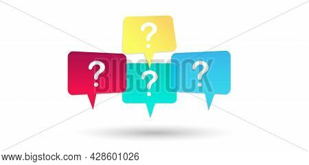 Question Mark Icons. Bubble Of Speech. Window Of Messages. Frequently Asked Questions. Bright, Color