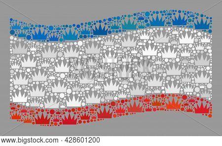 Mosaic Waving Crimea Flag Constructed With Royal Items. Royalty Vector Collage Waving Crimea Flag De