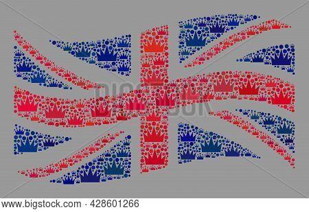 Mosaic Waving Great Britain Flag Designed Of Royal Items. Brand Vector Mosaic Waving Great Britain F