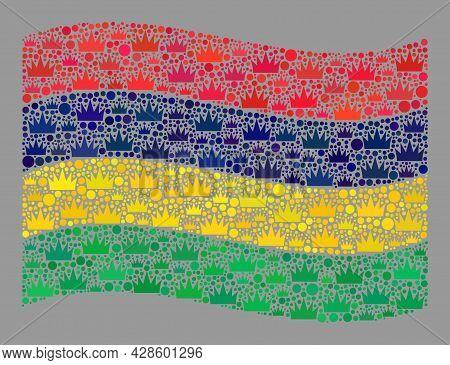 Mosaic Waving Mauritius Flag Designed Of Royal Items. Luxury Vector Mosaic Waving Mauritius Flag Des