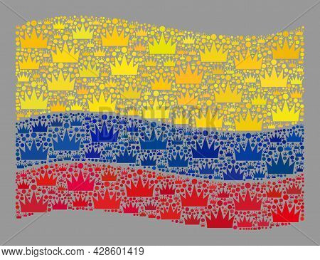 Mosaic Waving Colombia Flag Designed With Royal Items. Royalty Vector Collage Waving Colombia Flag D