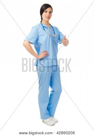 Doctor shows ok gesture isolated