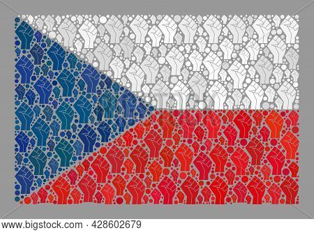 Mosaic Rectangular Czech Flag Designed With Protest Elements. Solidarity Hand Vector Collage Czech F