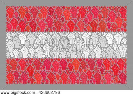 Mosaic Rectangle Austria Flag Designed With Riot Hand Items. Solidarity Fist Vector Mosaic Austria F