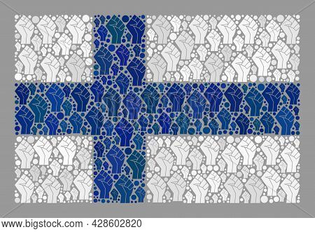 Mosaic Rectangle Finland Flag Created Of Fighter Palm Items. Strike Hand Vector Collage Finland Flag