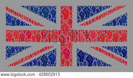 Mosaic Rectangular Great Britain Flag Designed Of Fist Icons. Fight Fist Vector Collage Great Britai