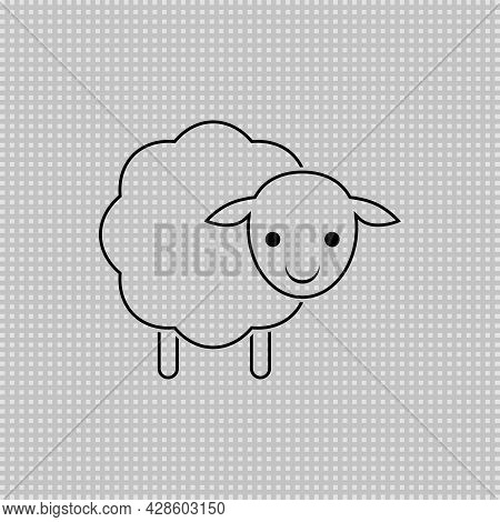 Baby Sheep Transparent Icon. Vector Drawing. Lamb Linear Outline Illustration.