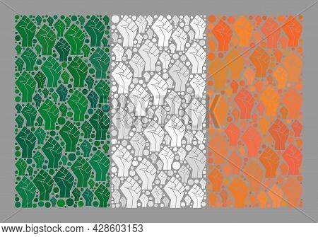 Mosaic Rectangle Ireland Flag Designed Of Fighter Palm Icons. Protest Hand Vector Collage Ireland Fl
