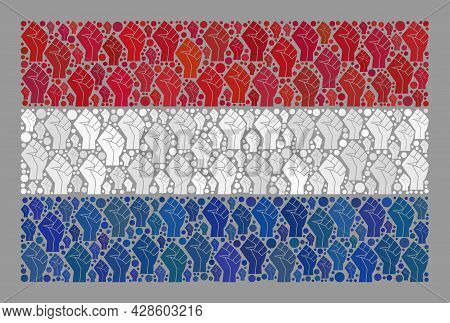 Mosaic Rectangular Netherlands Flag Created Of Riot Hand Elements. Conflict Hand Vector Collage Neth