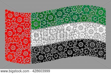 Mosaic Waving United Arab Emirates Flag Created Of Tools Elements. Vector Cog Mosaic Waving United A