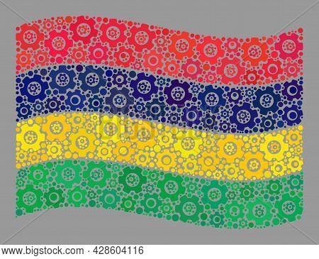 Mosaic Waving Mauritius Flag Created Of Technology Items. Vector Engine Collage Waving Mauritius Fla