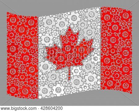 Mosaic Waving Canada Flag Designed With Technology Icons. Vector Gear Collage Waving Canada Flag Org