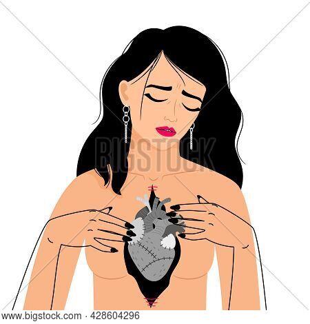 Girl Dead Heart. Woman With Hearts Problem, Deadly Sickness Lady, Female Health Problems, Cardiac Br