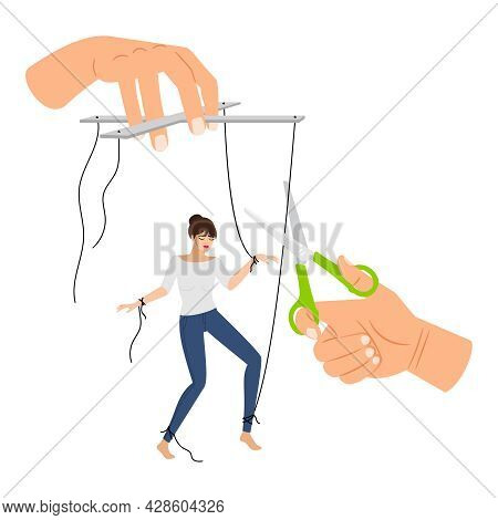 Woman Stop Manipulation. Girl Is Freed From Toxic Manipulations, Manipulator Hands With Cut Strings