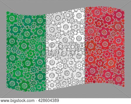 Mosaic Waving Italy Flag Constructed Of Control Center Elements. Vector Cog Wheel Collage Waving Ita