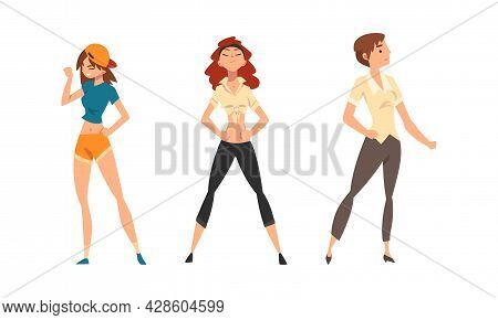 Young Woman Standing In Brave Pose Feeling Strength And Power Vector Set