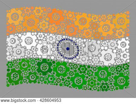 Mosaic Waving India Flag Designed With Industry Icons. Vector Gear Collage Waving India Flag Organiz