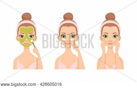 Face Care Routine With Young Girl With Pink Headband Applying Mask And Massaging Skin With Fingers V