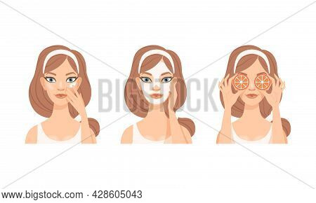 Face Care Routine With Young Girl With Pink Headband Applying Mask On Skin Vector Set