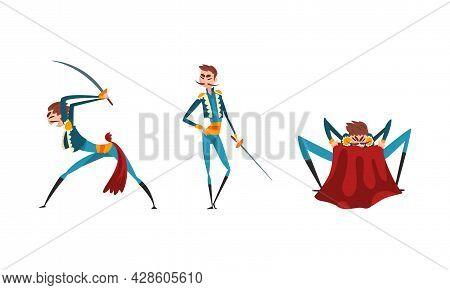 Bullfighter Or Matador Standing With Sword And Waving Red Cloak Vector Set