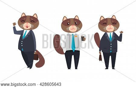 Cat Businessman Character In Formal Suit And Tie Drinking Coffee And Waving Paw Vector Set