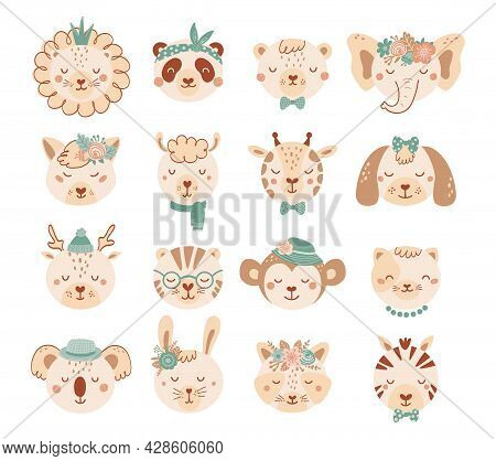 Set With Faces Cute Animals In Pastel Colors For Children. Collection Animal Characters With Flowers