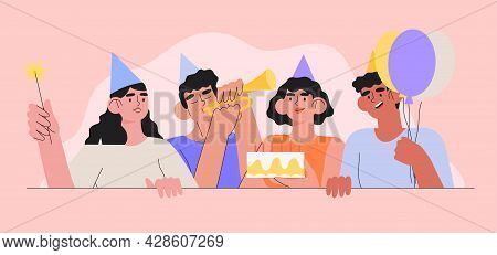 Group Of Smiling People Celebrating Birthday Or Anniversary. Men And Women Have Birthday Party With
