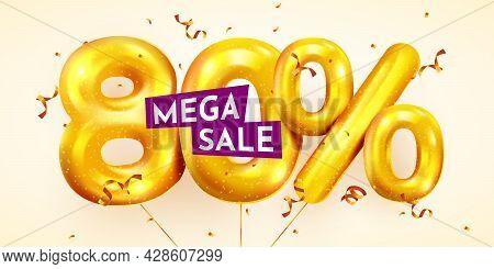 80 Percent Off. Discount Creative Composition Of Golden Balloons. 3d Mega Sale Or Eighty Percent Bon