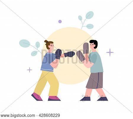 Professional Sport Coach And Fighter Are Boxing Workouts In Gym.
