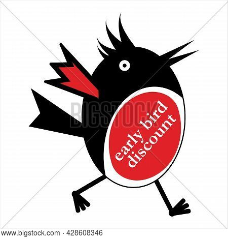 Early Bird Discount With Cute Bird. Early Cheerful Bird Talking About Special Sale, Promo, Discount